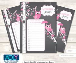 Girl Owl Memory Game Card for Baby Shower, Printable Guess Card, Forest, Spring