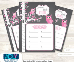 Girl Owl Guess Baby Food Game or Name That Baby Food Game for a Baby Shower, Forest Spring