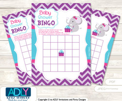 Printable Turquoise Elephant Bingo Game Printable Card for Baby Purple Shower DIY grey, Turquoise, Pink