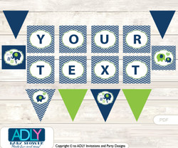 Personalized Boy Elephant Printable Banner for Baby Shower, Green, Blue