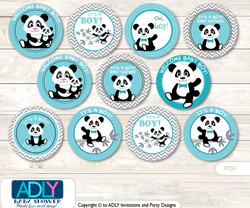 Baby Shower Boy Panda Cupcake Toppers Printable File for Little Boy and Mommy-to-be, favor tags, circle toppers, Chevron, Teal Grey