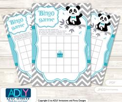 Printable Teal Grey Panda Bingo Game Printable Card for Baby Boy Shower DIY grey, Teal Grey, Chevron