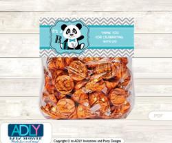 Printable Boy Panda Treat or Goodie bag Toppers for Baby Boy Shower or Birthday DIY Teal Grey, Chevron