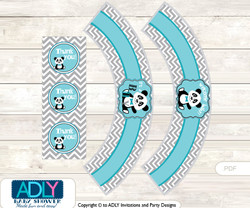 Printable Boy Panda Cupcake, Muffins Wrappers plus Thank You tags for Baby Shower Teal Grey, Chevron