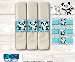 Printable Boy Panda Napkin Ring Label or Napkin Holders for Baby Shower, Teal Grey, Chevron