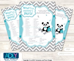 Boy Panda What is in Mommy's Purse, Baby Shower Purse Game Printable Card , Teal Grey,  Chevron