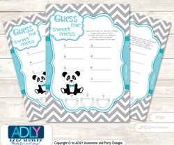 Boy Panda Dirty Diaper Game or Guess Sweet Mess Game for a Baby Shower Teal Grey, Chevron