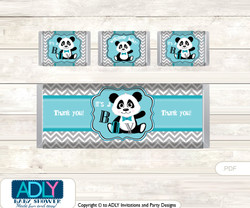 Boy Panda Chocolate Bar Wrapper and Nuggets Candy Wrapper Label for Baby Boy Shower  Teal Grey , Chevron