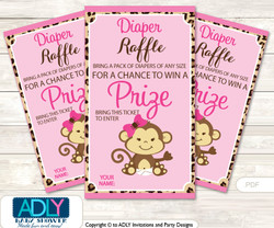 Safari Monkey Diaper Raffle Printable Tickets for Baby Shower, Leopard, Pink Brown