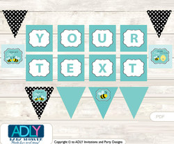 Personalized Neutral Bee Printable Banner for Baby Shower, Black, Turquoise