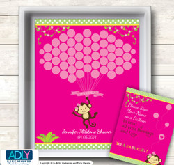Girl Monkey Guest Book Alternative for a Baby Shower, Creative Nursery Wall Art Gift, Hot Pink, Jungle