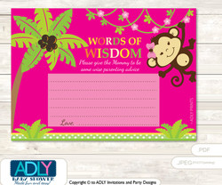 Hot Pink Girl Monkey Words of Wisdom or an Advice Printable Card for Baby Shower, Jungle
