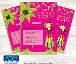 Printable Girl Monkey Price is Right Game Card for Baby Monkey Shower, Hot Pink, Jungle