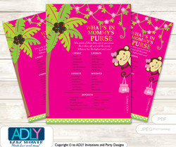 Girl Monkey What is in Mommy's Purse, Baby Shower Purse Game Printable Card , Hot Pink,  Jungle
