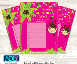 Girl Monkey Memory Game Card for Baby Shower, Printable Guess Card, Hot Pink, Jungle