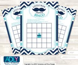 Printable Teal Blue Beau Bingo Game Printable Card for Baby Mustache Shower DIY grey, Teal Blue, Chevron