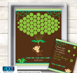 Boy Monkey Guest Book Alternative for a Baby Shower, Creative Nursery Wall Art Gift, Brown Lime, Jungle