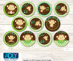 Baby Shower Boy Monkey Cupcake Toppers Printable File for Little Boy and Mommy-to-be, favor tags, circle toppers, Jungle, Brown Lime