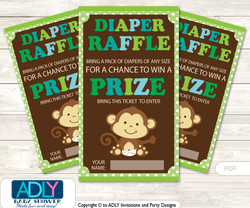 Boy Monkey Diaper Raffle Printable Tickets for Baby Shower, Brown Lime, Jungle