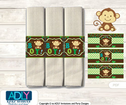 Printable Boy Monkey Napkin Ring Label or Napkin Holders for Baby Shower, Brown Lime, Jungle