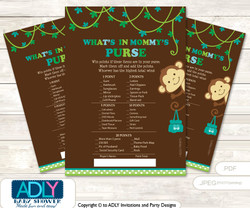 Boy Monkey What is in Mommy's Purse, Baby Shower Purse Game Printable Card , Brown Lime,  Jungle