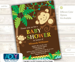 Personalized  Brown Blue Jungle Monkeys Baby Shower Printable DIY party invitation for boy - ONLY digital file - you print