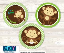 Printable  Boy Monkey Candy Kisses for Baby Boy Shower DIY Brown Lime , Jungle