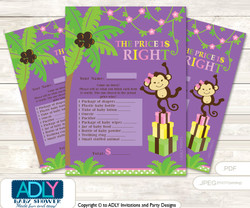Printable Purple Monkey Price is Right Game Card for Baby Monkey Shower, Pink, Jungle