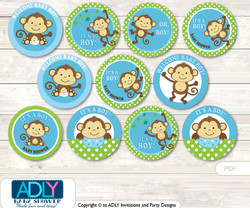 Baby Shower Boy Monkey Cupcake Toppers Printable File for Little Boy and Mommy-to-be, favor tags, circle toppers, Jungle, Blue Green