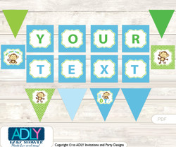 Personalized Boy Monkey Printable Banner for Baby Shower, Blue Green, Jungle