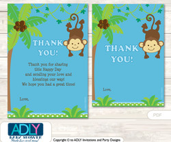 Boy  Monkey Thank you Cards for a Baby Boy Shower or Birthday DIY Blue Green, Jungle