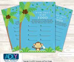 Boy Monkey Guess Baby Food Game or Name That Baby Food Game for a Baby Shower, Blue Green Jungle