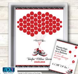 All Star Jumpman Guest Book Alternative for a Baby Shower, Creative Nursery Wall Art Gift, Black red, Jordan