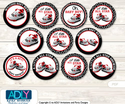 Baby Shower All Star Jumpman Cupcake Toppers Printable File for Little All Star and Mommy-to-be, favor tags, circle toppers, Jordan, Black red