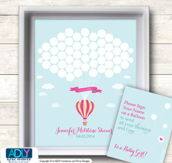 Girl Hot Balloon Guest Book Alternative for a Baby Shower, Creative Nursery Wall Art Gift, Turquoise, Pink