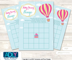 Printable Turquoise Hot Balloon Bingo Game Printable Card for Baby Girl Shower DIY grey, Turquoise, Pink