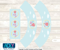 Printable Girl Hot Balloon Cupcake, Muffins Wrappers plus Thank You tags for Baby Shower Turquoise, Pink