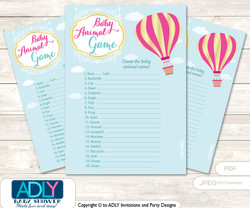 Printable Girl Hot Balloon Baby Animal Game, Guess Names of Baby Animals Printable for Baby Hot Balloon Shower, Turquoise, Pink