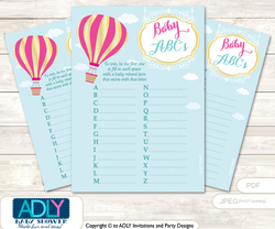 Girl Hot Balloon Baby ABC's Game, guess Animals Printable Card for Baby Hot Balloon Shower DIY –Pink