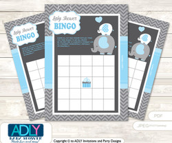 Printable Blue Grey Elephant Bingo Game Printable Card for Baby Boy Shower DIY grey, Blue Grey, Chevron