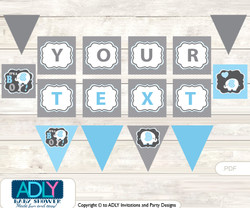 Personalized Boy Elephant Printable Banner for Baby Shower, Blue Grey, Chevron