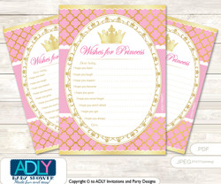 Pink Princess Wishes for a Baby, Well Wishes for a Little Princess Printable Card, Royal, Crown