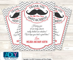 Man Mustache Thank you Printable Card with Name Personalization for Baby Shower or Birthday Party