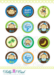 It's a Boy Monkeys  Cupcake Toppers or Favor Tags Printables for Brown Monkey Baby Shower DIY  - ONLY digital file - you print