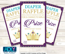Royal Princess Diaper Raffle Printable Tickets for Baby Shower, Gold Teal, Purple
