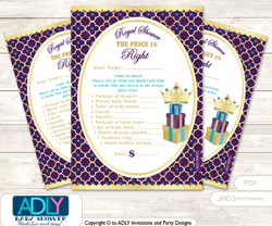 Printable Royal Princess Price is Right Game Card for Baby Princess Shower, Gold Teal, Purple