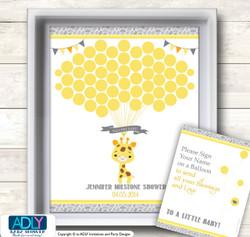 Neutral Giraffe Guest Book Alternative for a Baby Shower, Creative Nursery Wall Art Gift, Grey Yellow, Safari
