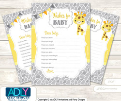 Neutral Giraffe Wishes for a Baby, Well Wishes for a Little Giraffe Printable Card, Safari, Grey Yellow