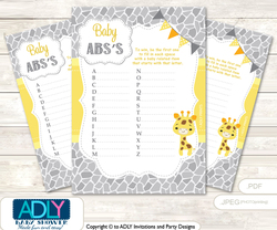 Neutral Giraffe Baby ABC's Game, guess Animals Printable Card for Baby Giraffe Shower DIY –Safari