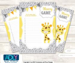 Neutral Giraffe Memory Game Card for Baby Shower, Printable Guess Card, Grey Yellow, Safari